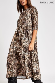 River Island Beige Dark Animal Print Smock Midi Dress