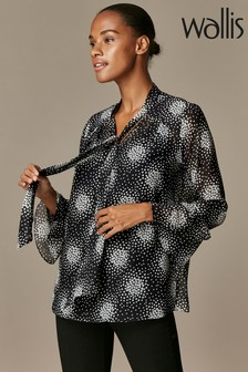 Wallis Black Mono Scatter Heart Blouse