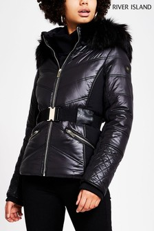 River Island Black Flavia Belted Fitted Padded Jacket