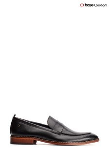 Base London® Black Lens Waxy Slip-On Loafers