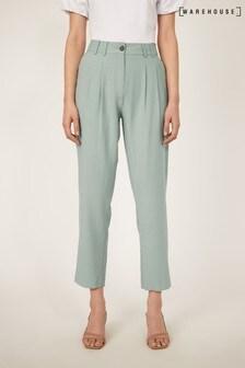 Warehouse Green Elastic Back Peg Trousers