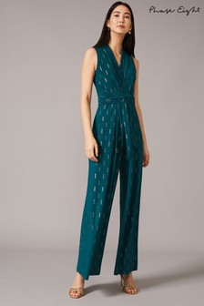 Phase Eight Green Tia Foil Printed Jumpsuit