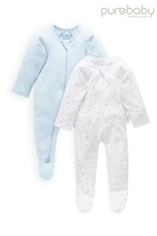 Purebaby Blue Organic Cotton Zip Growsuits 2 Pack