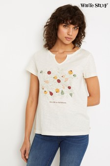 White Stuff Natural Daisy Jacquard Jersey T-Shirt
