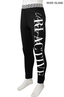 River Island Black Oversize Graphic Leggings