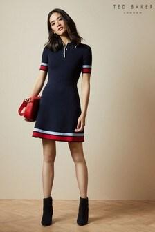 Ted Baker Blue Yniaa Stripe Detail Mockable Dress