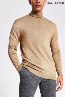 River Island Camel Essential Roll Neck Jumper
