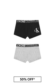 Calvin Klein Underwear Boys Black/Grey Cotton Boxers Two Pack