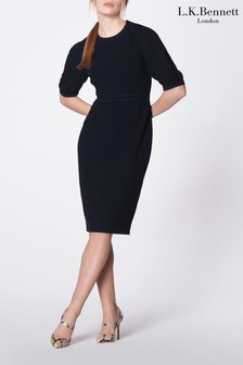 L.K.Bennett Blue Wren Fitted Round Neck Dress
