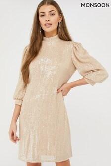Monsoon Pink Adara Sequin Short Dress