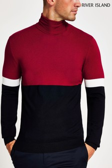 River Island Red Essential Roll Neck Blocked Jumper