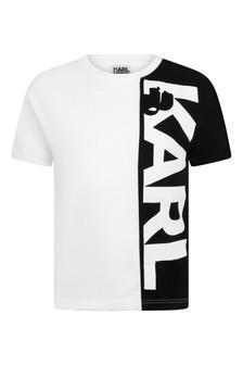 Boys White And Black Cotton Logo T-Shirt
