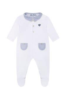 Baby Boys White Cotton Babygrow