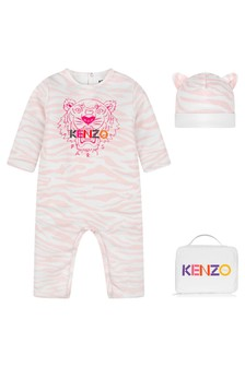 Baby Girls Pink Tiger Cotton Romper Set