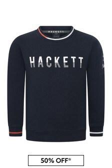 Hackett London Kids Boys Cotton Navy Sweatshirt