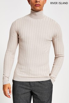 River Island Stone Rib Roll Neck Jumper