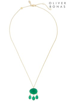 Oliver Bonas Daintree Multi Stone Drop Gold Plated Necklace