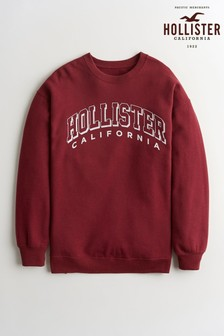Hollister Burgundy Graphic Crew Neck Sweater