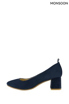 Monsoon Navy Callie Comfort Suede Day Shoes