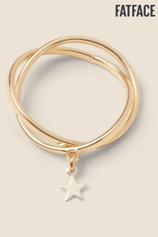 FatFace Gold Tone Star Cross Over Ring