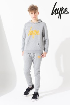 Hype. Grey Neon Orange Script Kids Tracksuit