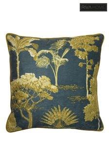 Riva Home Blue Arboretum Chenille Embroidered Cushion