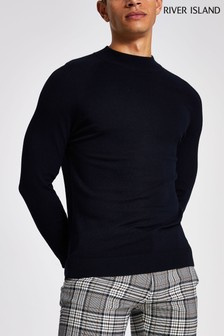 River Island Navy Turtle Neck Jumper