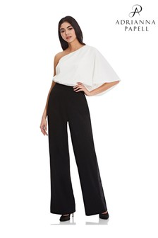 Adrianna Papell Black Crepe Tuxedo Trousers