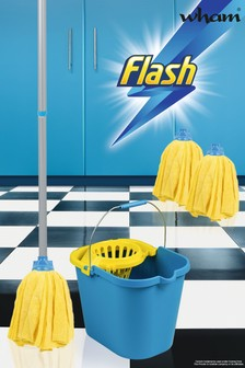 Flash 100 Microfibre Mop With 2 Mop Head Refills by Wham