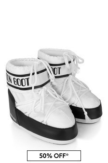 Girls White/Black Low Snow Boots