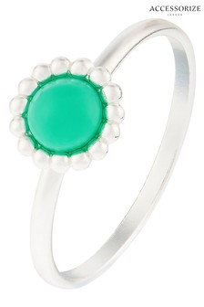 Accessorize Sterling Silver Ring With Reconstituted Turquoise