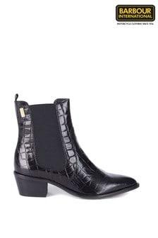 Barbour® International Black Jade Croc Chelsea Heeled Boots