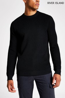 River Island Black Polyester Crew Jumper