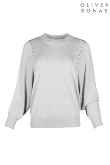 Oliver Bonas Star Studded Grey Knitted Jumper