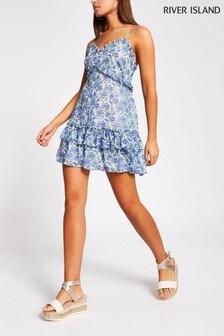 River Island Blue Floral Ruffle Mini Beach Dress