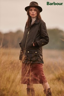 Barbour® Re-Engineered Olive Leather Trim Norwood Wax Jacket
