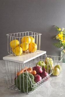 Set of 3 Marble Effect Vegetable Baskets