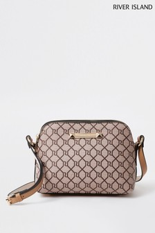 River Island Beige Monogram Double Bag