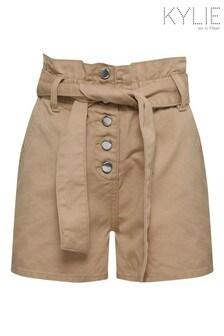Kylie Natural Denim Paper Bag Shorts