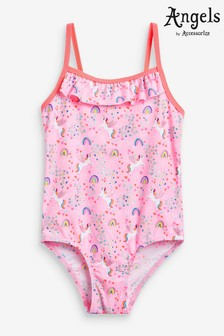 Angels by Accessorize Pink Retro Unicorn Print Swimsuit