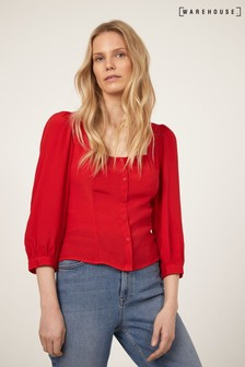 Warehouse Red Square Neck Top