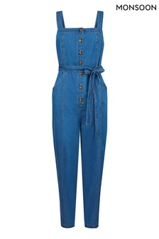 Monsoon Blue Denim Plain Jumpsuit