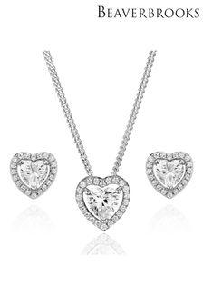 Beaverbrooks Cubic Zirconia Heart Pendant And Stud Earrings Set