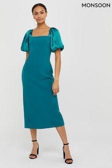 Monsoon Blue Eliza Organza Column Dress