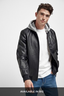 Faux Leather Bomber Jacket With Jersey Hood