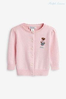 Ralph Lauren Pink Bear Cardigan
