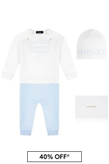 Baby Boys White/Blue Romper Gift Set
