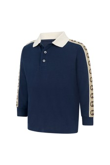 Boys Blue Piquet Trim Polo Top