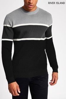 River Island Stone Polyester Blocked Crew Jumper