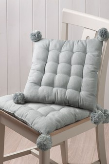 Set of 2 Silver Pom Pom Seat Pads